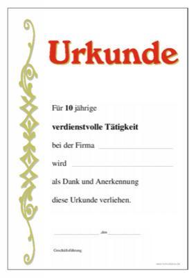 Urkunde Verdienstvolle Tätigkeit, 10 Jahre | Vorlagen und Muster zum ...