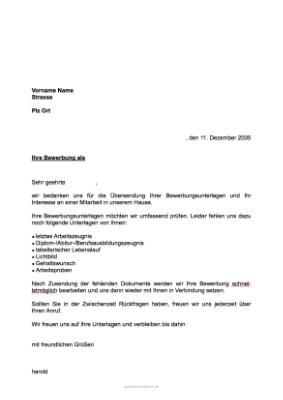 Musterbrief Eingangsbestätigung Bewerbung Personalbogen Vorlage