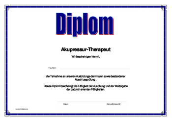 Diplom Alternative Heilmethoden, Akupressur-Therapeut als PDF Datei