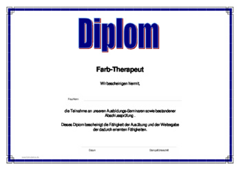 Diplom Alternative Heilmethoden, Farb-Therapeut als PDF Datei