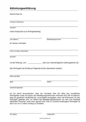 abtretungserklrung fr wohngeld word vorlage muster hier herunterladen - Abtretungserklarung Muster