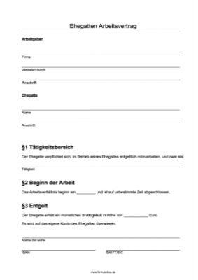 arbeitsvertrag ehegatten word vorlagen und muster