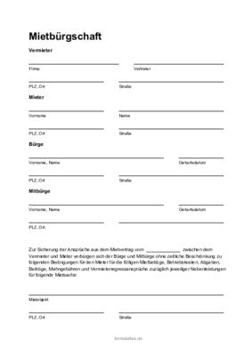 Selbstschuldnerische Burgschaft Muster Vorlage Zum Download 4