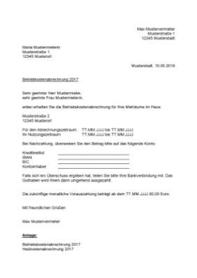 Formeller Inhalt Der Nebenkostenabrechnung 12