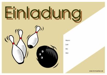 Einladung Zum Bowling | Vorlagen Und Muster Downloaden., Einladungs