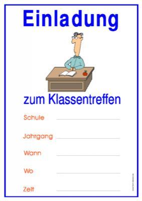 einladung zum klassentreffen (lehrer)   vorlagen und muster, Einladungskarten