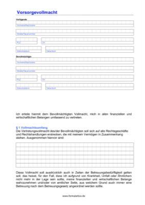 Vorsorgevollmacht Muster Formular Zum Download 2