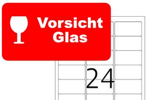 Herma Etikett 4645 Vorsicht Glas