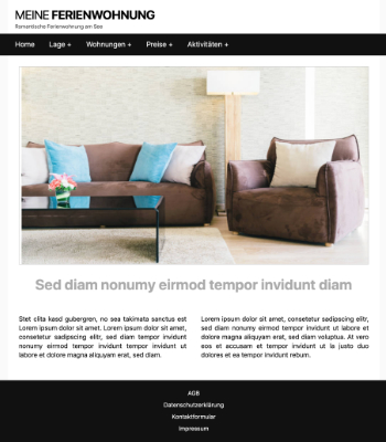 Website Template Ferienwohnung 'Black' hier downloaden