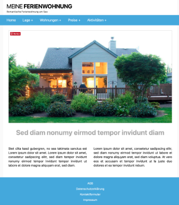 Website Template Ferienwohnung 'Blue' hier downloaden