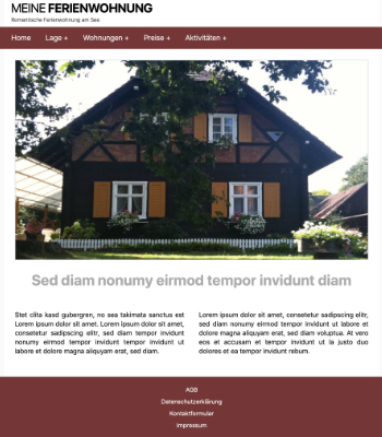 Website Template Ferienwohnung 'Brown' hier downloaden