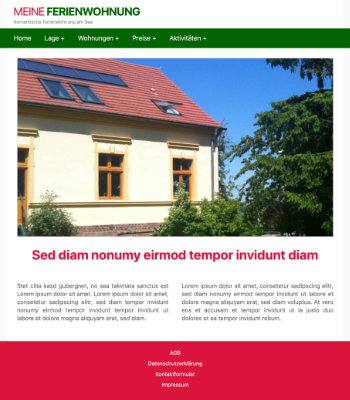 Website Template Ferienwohnung 'Green/Red' hier downloaden