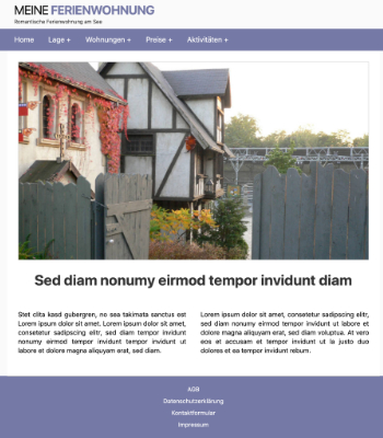 Website Template Ferienwohnung 'Lila' hier downloaden