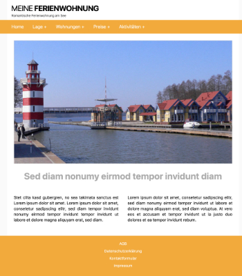 Website Template Ferienwohnung 'Orange' hier downloaden
