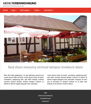 Website Template Ferienwohnung 'Red' hier downloaden
