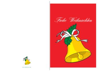 weihnachtskarte 39 frohe weihnachten goldene glocke 39 vorlagen und muster zum ausdrucken. Black Bedroom Furniture Sets. Home Design Ideas