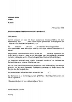 Musterbrief Kündigung Arbeitsverhältnis Beleidigung Vorlage
