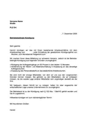 Musterbrief Kündigung Arbeitsverhältnis Betriebsbedingt Vorlage