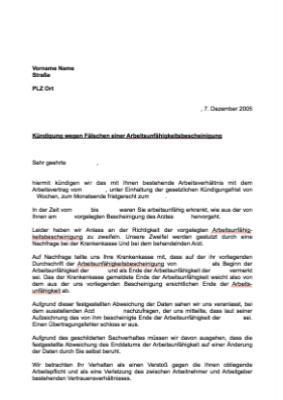 Musterbrief Kündigung Arbeitsverhältnis Fälschen Vorlage Muster
