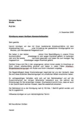 Musterbrief Kündigung Arbeitsverhältnis Abwesenheit Vorlage