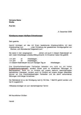 Musterbrief Kündigung Arbeitsverhältnis Erkrankung Vorlage