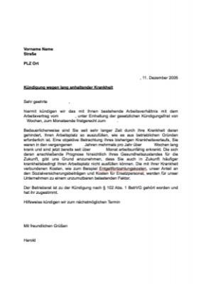 musterbrief kndigung arbeitsverhltnis krankheit vorlage muster hier herunterladen - Kundigungsschreiben Arbeitgeber Muster