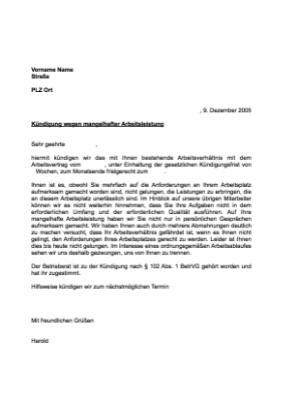 Musterbrief Kündigung Arbeitsverhältnis Arbeitsleistung Vorlage