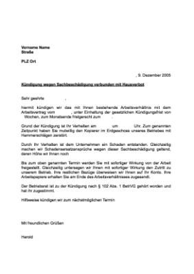 Musterbrief Kündigung Arbeitsverhältnis Sachbeschädigung Vorlage