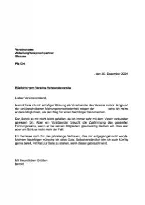 musterbrief rcktritt vereins vorstandsvorsitz - Rucktritt Vorstand Verein Muster