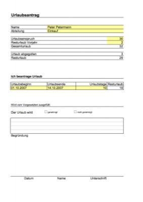 Urlaubsantrag excel tabelle vorlage zum herunterladen for Tabelle muster word