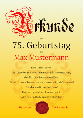 Geburtstagsurkunde 75 Geburtstag Lebe Vorlage Muster Downloaden