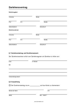 Darlehensvertrag Vorlage Schweiz Privatdarlehen