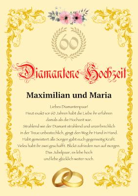 Urkunde Diamnantenen Hochzeit Hier Downloaden Und Ausdrucken