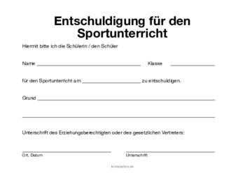 Dauerhafte Befreiung Vom Sportunterricht