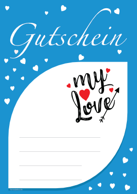 Gutschein 'My Love', Blau hier downloaden