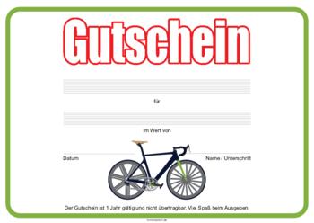 Fahrrad Als Gutschein Vorlagen Muster Gutscheinideen 8