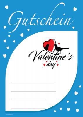 Gutschein Valentine S Day Blau Vorlage Muster Zum Ausdrucken