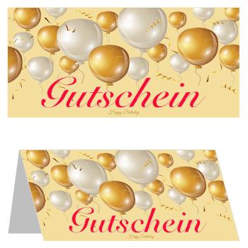 gutscheinkarte 39 goldene ballons 39 vorlage muster zum ausdrucken. Black Bedroom Furniture Sets. Home Design Ideas