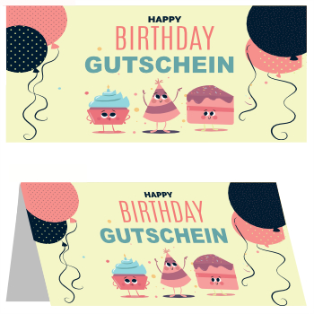 Gutscheinkarte 'Happy Birthday' hier downloaden
