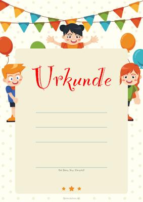 Kinder Urkunde Kinder Und Luftballons Vorlage Muster Zum Ausdrucken