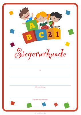 kinder siegerurkunde 'kinder, abc' | pdf-vorlage zum ausdrucken