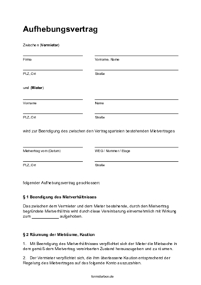 Mietaufhebungsvertrag Pdf Free Download