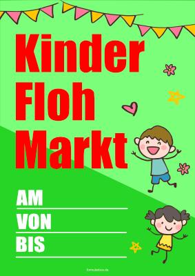 Plakat, Kinder Flohmarkt   Vorlage, Muster zum Ausdrucken
