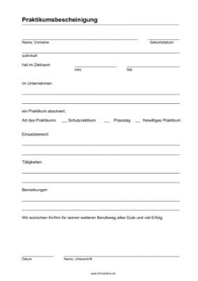 Praktikumsbescheinigung (PDF) | Vorlage, Muster zum Ausdrucken