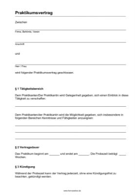 Praktikumsvertrag (PDF) hier downloaden