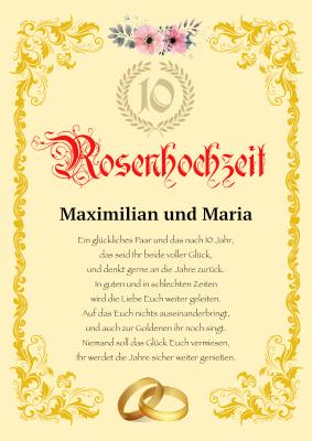 10 Jã¤Hriger Hochzeitstag | Urkunde Rosenhochtzeit 10 Jahre Hier Downloaden Und Ausdrucken