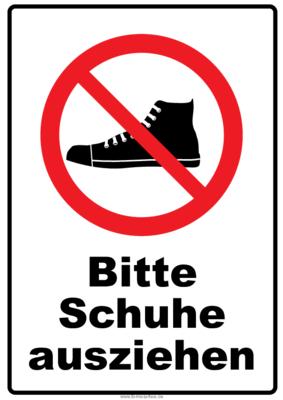 Verbotsschild Schuhe ausziehen | Pdf-Vorlage zum Ausdrucken
