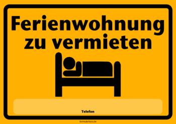 Schild, Ferienwohnung zu vermieten | Pdf-Vorlage zum ...