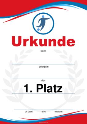 Urkunde Fussball Blau Rot Pdf Vorlage Zum Ausdrucken