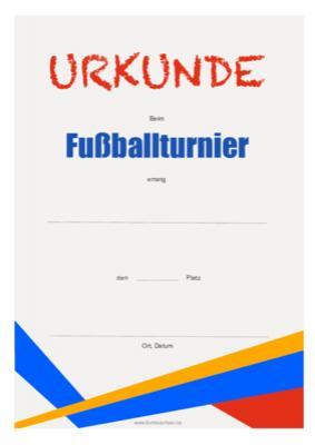 Fussball Turnier Urkunde Vorlagen Und Muster Herunterladen